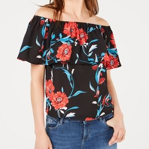 Bar III NWT Floral Print Off the Shoulder Blouse